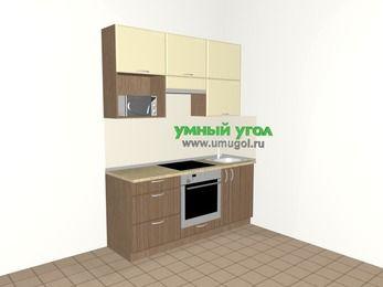 Прямая кухня МДФ матовый 5,0 м², 1800 мм, Ваниль / Лиственница бронзовая, верхние модули 920 мм, верхний витринный модуль под свч, встроенный духовой шкаф