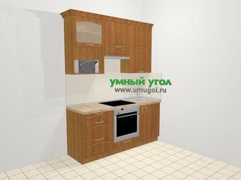 Прямая кухня МДФ матовый в классическом стиле 5,0 м², 180 см, Вишня, верхние модули 92 см, верхний модуль под свч, встроенный духовой шкаф
