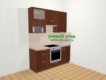 Прямая кухня МДФ матовый в классическом стиле 5,0 м², 180 см, Вишня темная, верхние модули 92 см, верхний модуль под свч, встроенный духовой шкаф