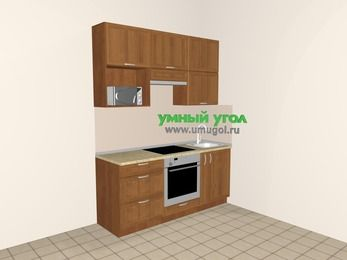 Прямая кухня из рамочного МДФ 5,0 м², 1800 мм, Орех, верхние модули 920 мм, верхний витринный модуль под свч, встроенный духовой шкаф