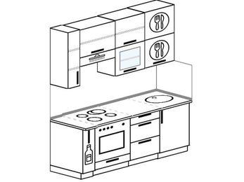 Прямая кухня 5,0 м² (1,8 м), верхние модули 920 мм, встроенный духовой шкаф