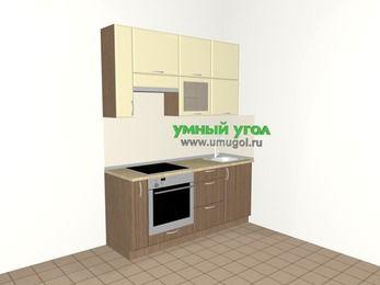 Прямая кухня МДФ матовый 5,0 м², 1800 мм, Ваниль / Лиственница бронзовая, верхние модули 920 мм, встроенный духовой шкаф