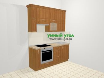 Прямая кухня МДФ матовый в классическом стиле 5,0 м², 1800 мм, Вишня, верхние модули 920 мм, встроенный духовой шкаф
