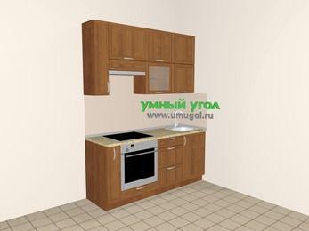 Прямая кухня из рамочного МДФ 5,0 м², 1800 мм, Орех, верхние модули 920 мм, встроенный духовой шкаф