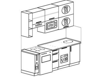 Прямая кухня 5,0 м² (1,8 м), верхние модули 920 мм, посудомоечная машина, верхний витринный модуль под свч, отдельно стоящая плита