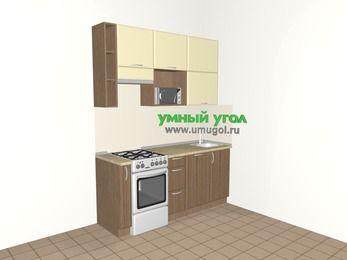 Прямая кухня МДФ матовый 5,0 м², 1800 мм, Ваниль / Лиственница бронзовая, верхние модули 920 мм, посудомоечная машина, верхний витринный модуль под свч, отдельно стоящая плита