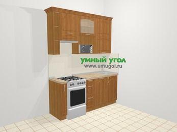 Прямая кухня МДФ матовый в классическом стиле 5,0 м², 180 см, Вишня, верхние модули 92 см, посудомоечная машина, верхний модуль под свч, отдельно стоящая плита