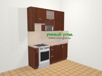 Прямая кухня МДФ матовый в классическом стиле 5,0 м², 180 см, Вишня темная, верхние модули 92 см, посудомоечная машина, верхний модуль под свч, отдельно стоящая плита