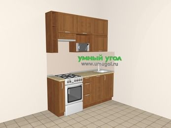 Прямая кухня из рамочного МДФ 5,0 м², 1800 мм, Орех, верхние модули 920 мм, посудомоечная машина, верхний модуль под свч, отдельно стоящая плита