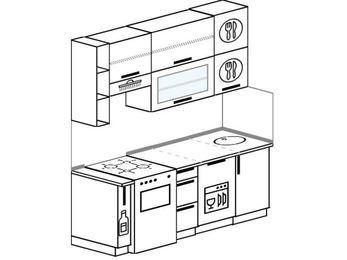 Прямая кухня 5,0 м² (1,8 м), верхние модули 92 см, посудомоечная машина, отдельно стоящая плита
