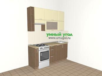 Прямая кухня МДФ матовый 5,0 м², 1800 мм, Ваниль / Лиственница бронзовая, верхние модули 920 мм, посудомоечная машина, отдельно стоящая плита