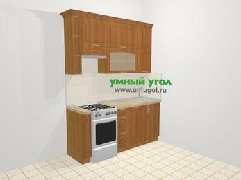 Прямая кухня МДФ матовый в классическом стиле 5,0 м², 180 см, Вишня, верхние модули 92 см, посудомоечная машина, отдельно стоящая плита