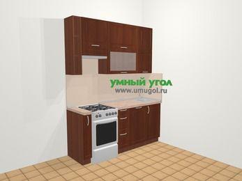 Прямая кухня МДФ матовый в классическом стиле 5,0 м², 180 см, Вишня темная, верхние модули 92 см, посудомоечная машина, отдельно стоящая плита