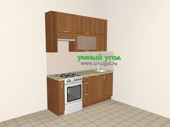 Прямая кухня из рамочного МДФ 5,0 м², 1800 мм, Орех, верхние модули 920 мм, посудомоечная машина, отдельно стоящая плита