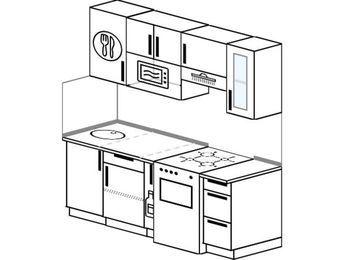 Прямая кухня 5,0 м² (1,8 м), верхние модули 72 см, модуль под свч, отдельно стоящая плита