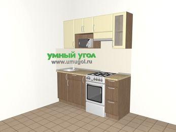 Прямая кухня МДФ матовый 5,0 м², 1800 мм (зеркальный проект), Ваниль / Лиственница бронзовая, верхние модули 720 мм, модуль под свч, отдельно стоящая плита