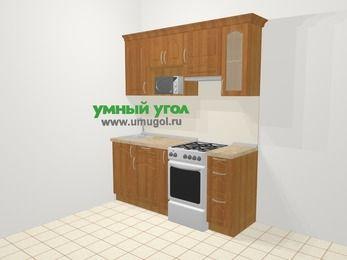 Прямая кухня МДФ матовый в классическом стиле 5,0 м², 180 см (зеркальный проект), Вишня, верхние модули 72 см, модуль под свч, отдельно стоящая плита