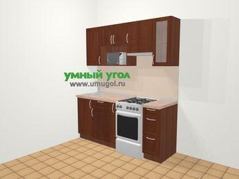Прямая кухня МДФ матовый в классическом стиле 5,0 м², 180 см (зеркальный проект), Вишня темная, верхние модули 72 см, модуль под свч, отдельно стоящая плита