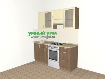 Прямая кухня МДФ матовый 5,0 м², 1800 мм (зеркальный проект), Ваниль / Лиственница бронзовая, верхние модули 720 мм, отдельно стоящая плита