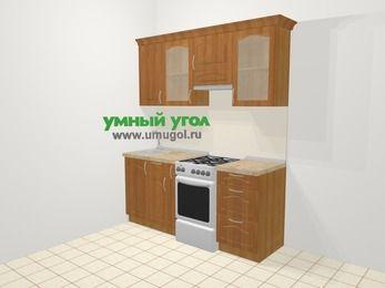 Прямая кухня МДФ матовый в классическом стиле 5,0 м², 180 см (зеркальный проект), Вишня, верхние модули 72 см, отдельно стоящая плита