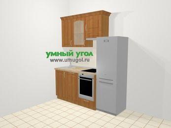 Прямая кухня МДФ матовый в классическом стиле 5,0 м², 180 см (зеркальный проект), Вишня, верхние модули 72 см, посудомоечная машина, встроенный духовой шкаф, холодильник