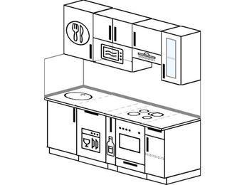 Прямая кухня 5,0 м² (1,8 м), верхние модули 72 см, посудомоечная машина, модуль под свч, встроенный духовой шкаф