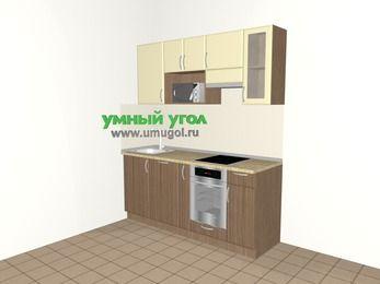 Прямая кухня МДФ матовый 5,0 м², 1800 мм (зеркальный проект), Ваниль / Лиственница бронзовая, верхние модули 720 мм, посудомоечная машина, модуль под свч, встроенный духовой шкаф