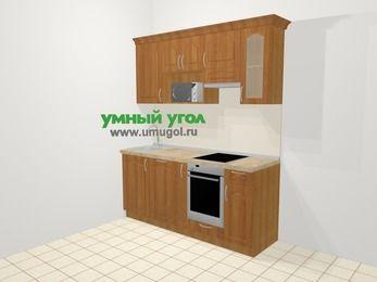 Прямая кухня МДФ матовый в классическом стиле 5,0 м², 180 см (зеркальный проект), Вишня, верхние модули 72 см, посудомоечная машина, модуль под свч, встроенный духовой шкаф