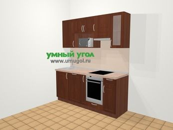 Прямая кухня МДФ матовый в классическом стиле 5,0 м², 180 см (зеркальный проект), Вишня темная, верхние модули 72 см, посудомоечная машина, модуль под свч, встроенный духовой шкаф