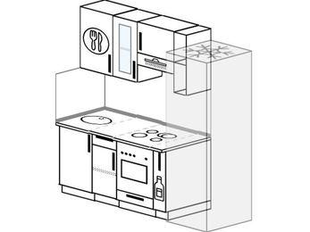 Прямая кухня 5,0 м² (1,8 м), верхние модули 72 см, встроенный духовой шкаф, холодильник
