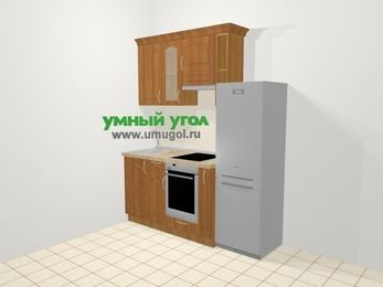 Прямая кухня МДФ матовый в классическом стиле 5,0 м², 180 см (зеркальный проект), Вишня, верхние модули 72 см, встроенный духовой шкаф, холодильник