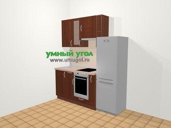 Прямая кухня МДФ матовый в классическом стиле 5,0 м², 180 см (зеркальный проект), Вишня темная, верхние модули 72 см, встроенный духовой шкаф, холодильник