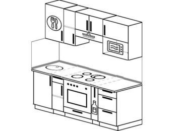 Прямая кухня 5,0 м² (1,8 м), верхние модули 72 см, верхний модуль под свч, встроенный духовой шкаф