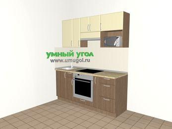 Прямая кухня МДФ матовый 5,0 м², 1800 мм (зеркальный проект), Ваниль / Лиственница бронзовая, верхние модули 720 мм, верхний модуль под свч, встроенный духовой шкаф