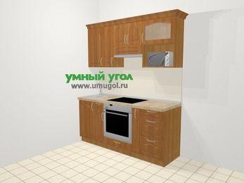 Прямая кухня МДФ матовый в классическом стиле 5,0 м², 180 см (зеркальный проект), Вишня, верхние модули 72 см, верхний модуль под свч, встроенный духовой шкаф