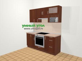 Прямая кухня МДФ матовый в классическом стиле 5,0 м², 180 см (зеркальный проект), Вишня темная, верхние модули 72 см, верхний модуль под свч, встроенный духовой шкаф