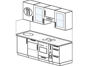 Прямая кухня 5,0 м² (1,8 м), верхние модули 72 см, встроенный духовой шкаф