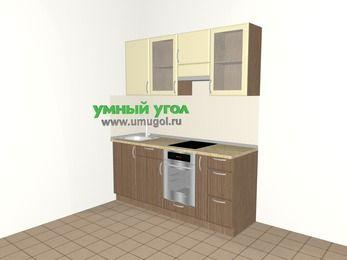 Прямая кухня МДФ матовый 5,0 м², 1800 мм (зеркальный проект), Ваниль / Лиственница бронзовая, верхние модули 720 мм, встроенный духовой шкаф