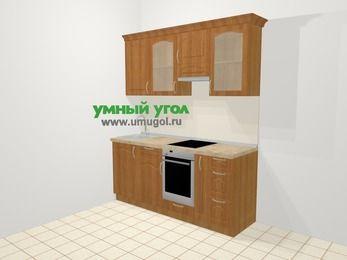 Прямая кухня МДФ матовый в классическом стиле 5,0 м², 180 см (зеркальный проект), Вишня, верхние модули 72 см, встроенный духовой шкаф