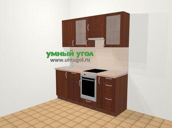 Прямая кухня МДФ матовый в классическом стиле 5,0 м², 180 см (зеркальный проект), Вишня темная, верхние модули 72 см, встроенный духовой шкаф