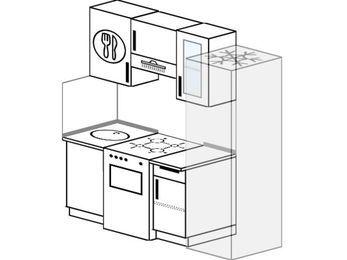 Планировка прямой кухни 5,0 м², 1800 мм (зеркальный проект): верхние модули 720 мм, отдельно стоящая плита, холодильник