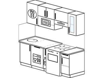 Планировка прямой кухни 5,0 м², 1800 мм (зеркальный проект): верхние модули 720 мм, посудомоечная машина, корзина-бутылочница, отдельно стоящая плита, модуль под свч
