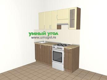 Прямая кухня МДФ матовый 5,0 м², 1800 мм (зеркальный проект), Ваниль / Лиственница бронзовая, верхние модули 720 мм, посудомоечная машина, отдельно стоящая плита