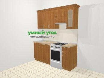 Прямая кухня МДФ матовый в классическом стиле 5,0 м², 180 см (зеркальный проект), Вишня, верхние модули 72 см, посудомоечная машина, отдельно стоящая плита