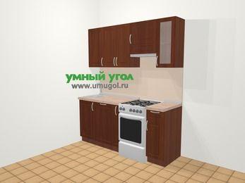 Прямая кухня МДФ матовый в классическом стиле 5,0 м², 180 см (зеркальный проект), Вишня темная, верхние модули 72 см, посудомоечная машина, отдельно стоящая плита