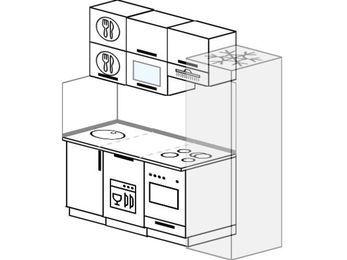 Планировка прямой кухни 5,0 м², 180 см (зеркальный проект): верхние модули 72 см, посудомоечная машина, встроенный духовой шкаф, холодильник