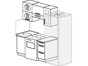 Планировка прямой кухни 5,0 м², 180 см (зеркальный проект): верхние модули 72 см, отдельно стоящая плита, холодильник