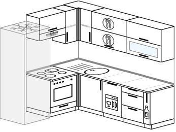 Планировка угловой кухни 6,2 м², 180 на 220 см: верхние модули 72 см, холодильник, встроенный духовой шкаф, посудомоечная машина, корзина-бутылочница
