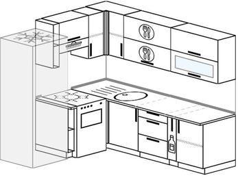 Планировка угловой кухни 6,2 м², 180 на 220 см: верхние модули 72 см, холодильник, отдельно стоящая плита, корзина-бутылочница