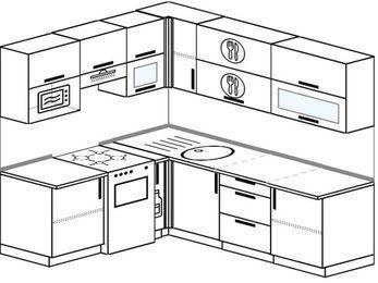 Планировка угловой кухни 6,2 м², 1800 на 2200 мм: верхние модули 720 мм, отдельно стоящая плита, корзина-бутылочница, верхний модуль под свч